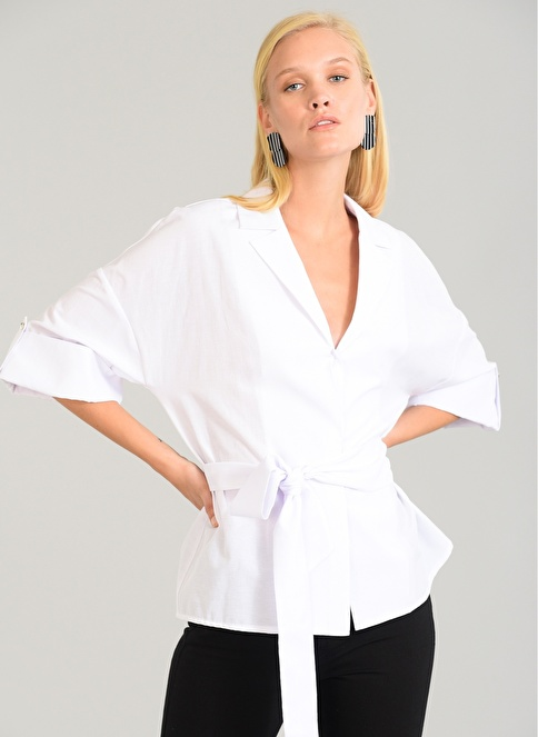 People By Fabrika Bağlamalı Kimono Beyaz